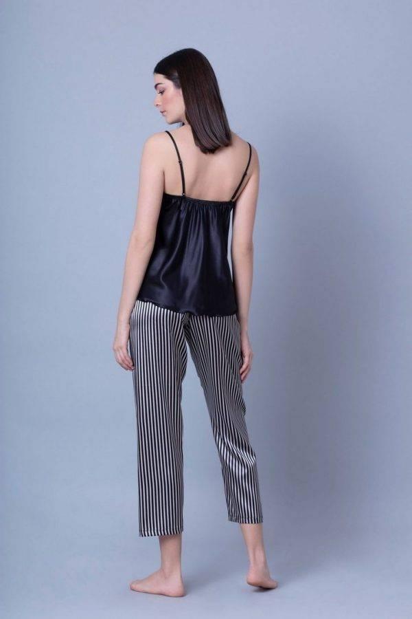 Γυναικεία πυτζάμα σατέν Milena τιράντα-καπρι παντελόνι 009128