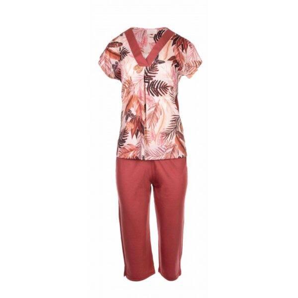 Γυναικεία πιτζάμα Pink Label κοντο μανικι -καπρι Palm Leaf S928