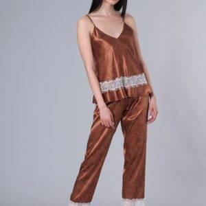 Γυναικεία πιτζάμα Milena σατέν 009136