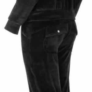 Γυναικεία φόρμα βελουτέ με γούνα Pink Label W994